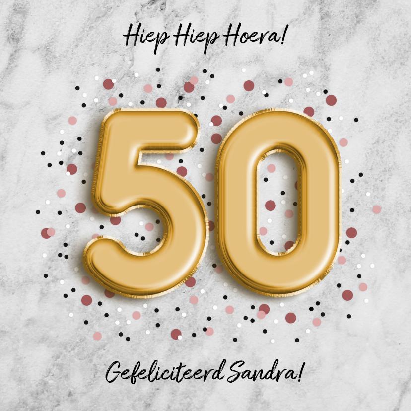 Verjaardagskaarten - Moderne verjaardagskaart folieballon '50' met confetti