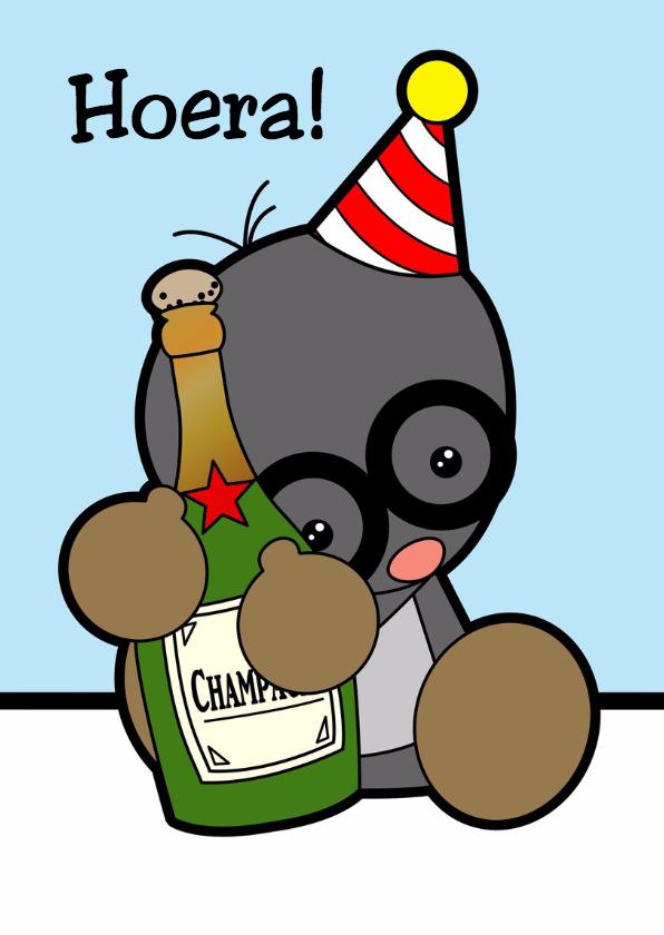 Verjaardagskaarten - Mol met champagne