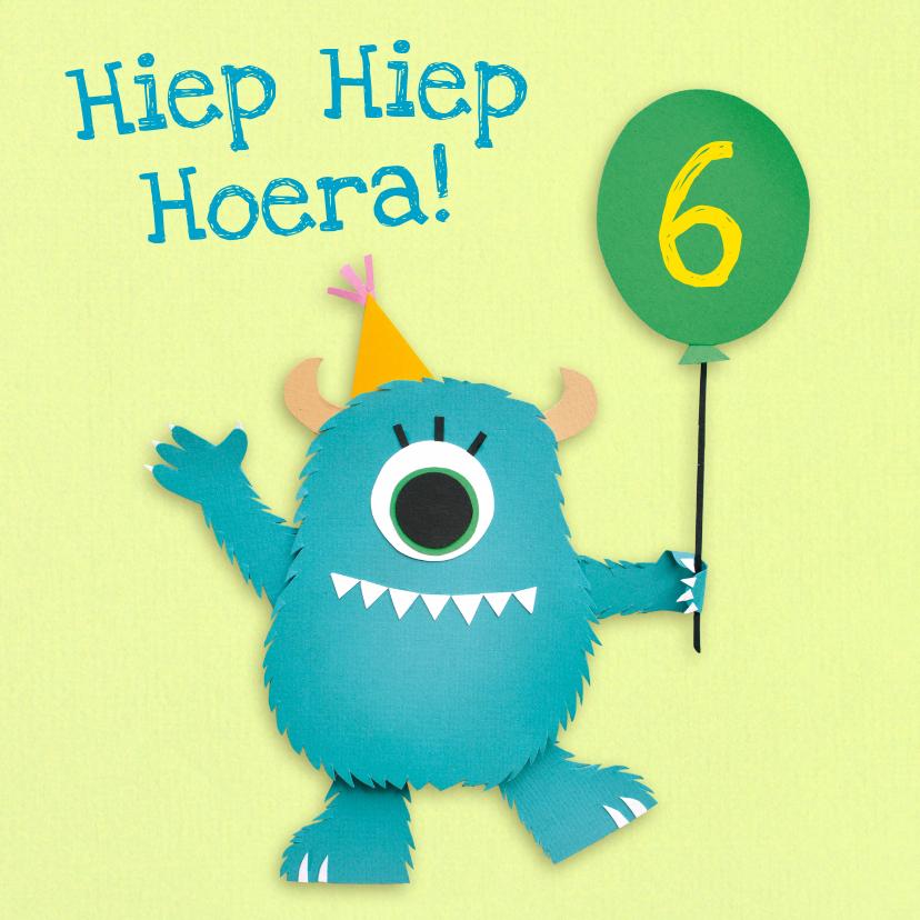 Verjaardagskaarten - Monster met ballon verjaardagskaart