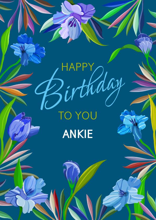 Verjaardagskaarten - Mooie verjaardagskaart met blauwe lelies op donker