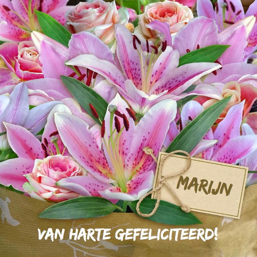 Verjaardagskaarten - Mooie verjaardagskaart met boeket lelies voor senior