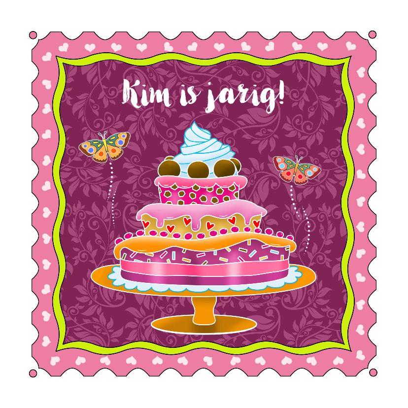 Verjaardagskaarten - Mooie verjaardagskaart met taart en vlinders voor meisje