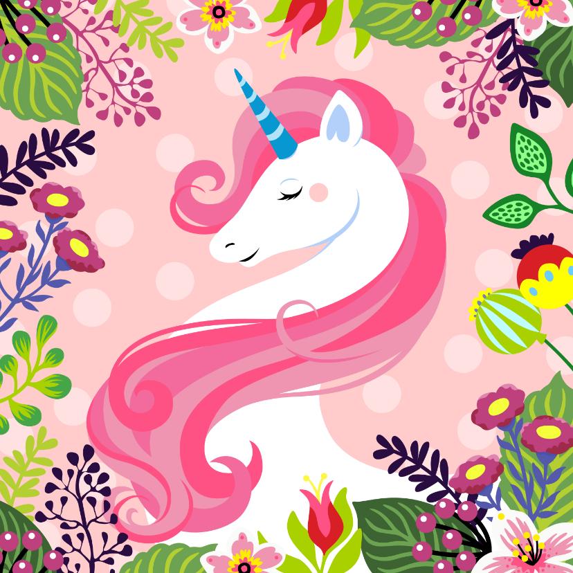 Verjaardagskaarten - Mooie verjaardagskaart met unicorn en bloemen