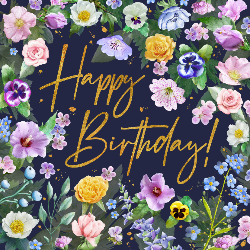 Verjaardagskaarten - Mooie verjaardagskaart verschillende bloemensoorten