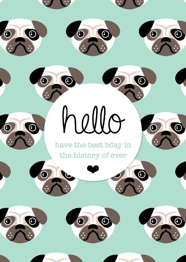 Verjaardagskaarten - Mopshond puppy verjaardag engels