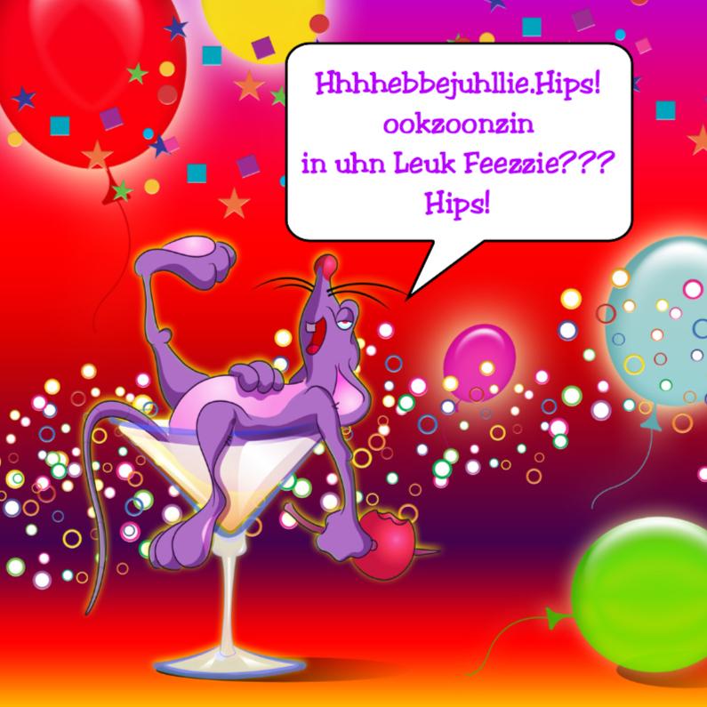 Verjaardagskaarten - muis in glas plaats vrolijke tekst