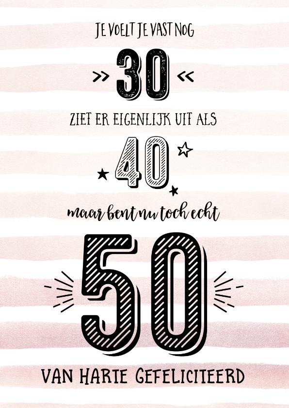 Verjaardagskaarten - Nu echt 50 aquarelstrepen peach