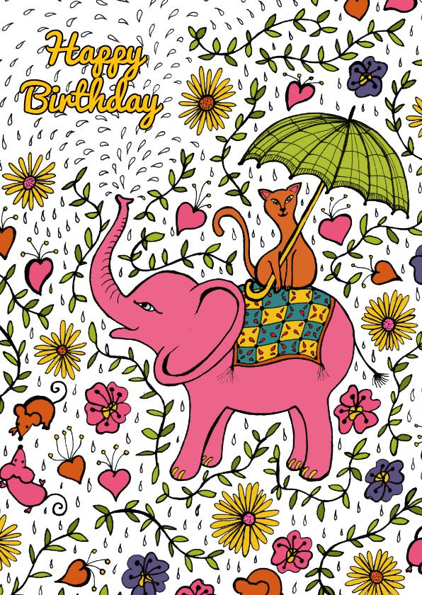 Verjaardagskaarten - Olifant met poes op zijn rug met bloemen, takjes en druppels