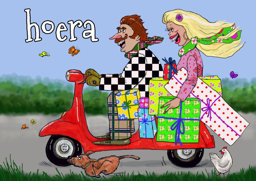 Verjaardagskaarten - op de scooter naar het feest!