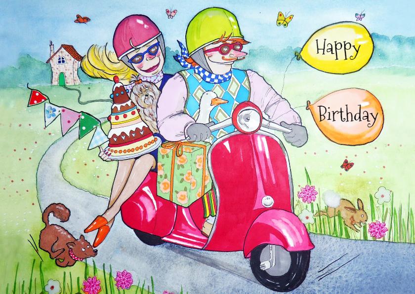 Verjaardagskaarten - op de scooter