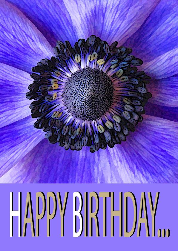 Verjaardagskaarten - Paarse Bloem happy Birthday....
