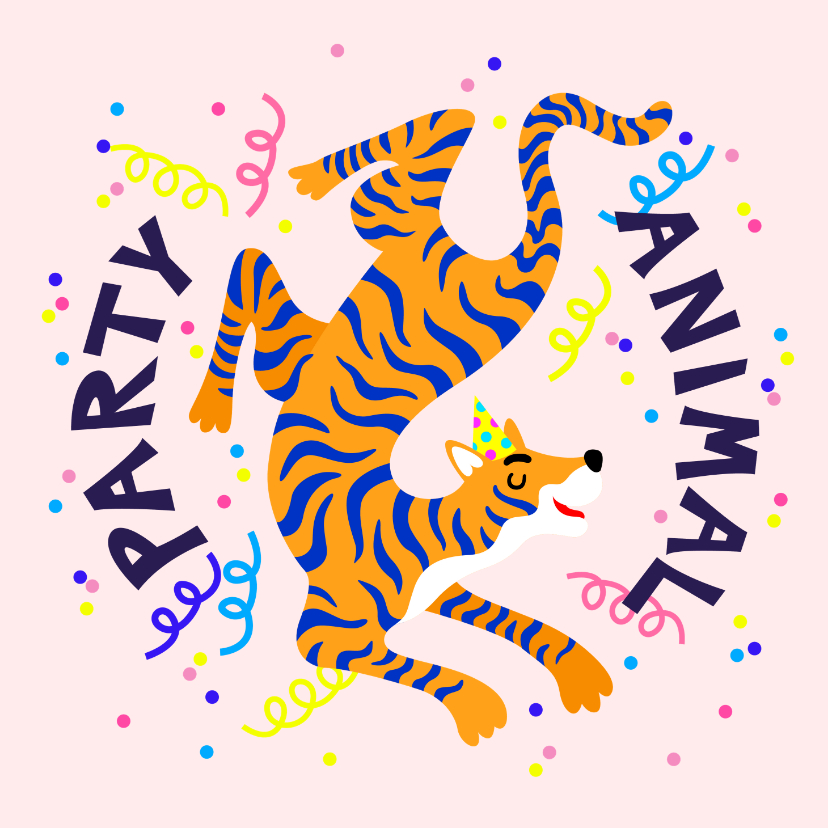 Verjaardagskaarten - Party animal verjaardagskaart met tijger en slingers