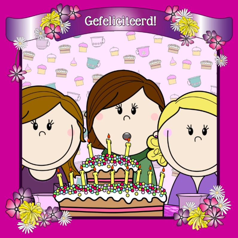 Verjaardagskaarten - Party Girls Taart met kaarsjes
