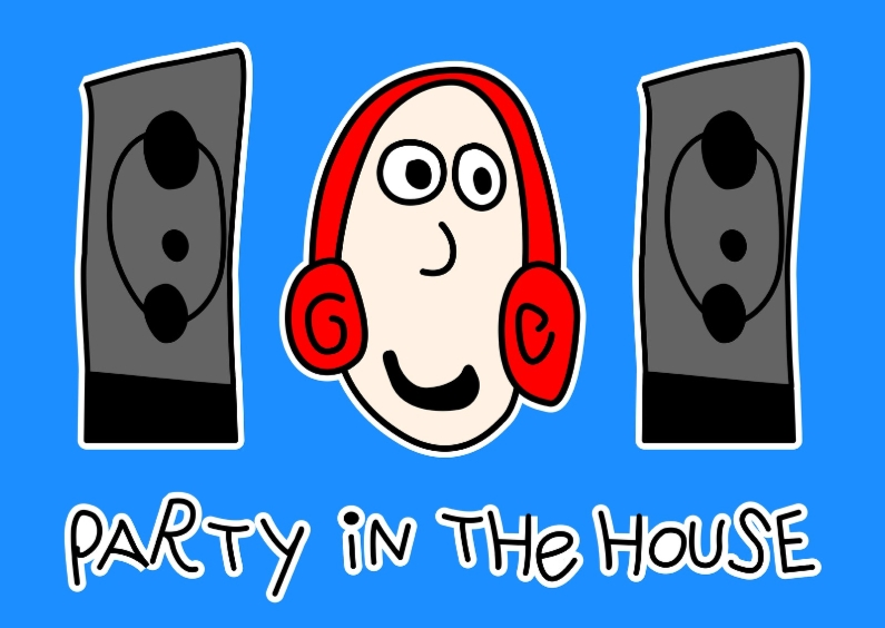 Verjaardagskaarten - Party in the house