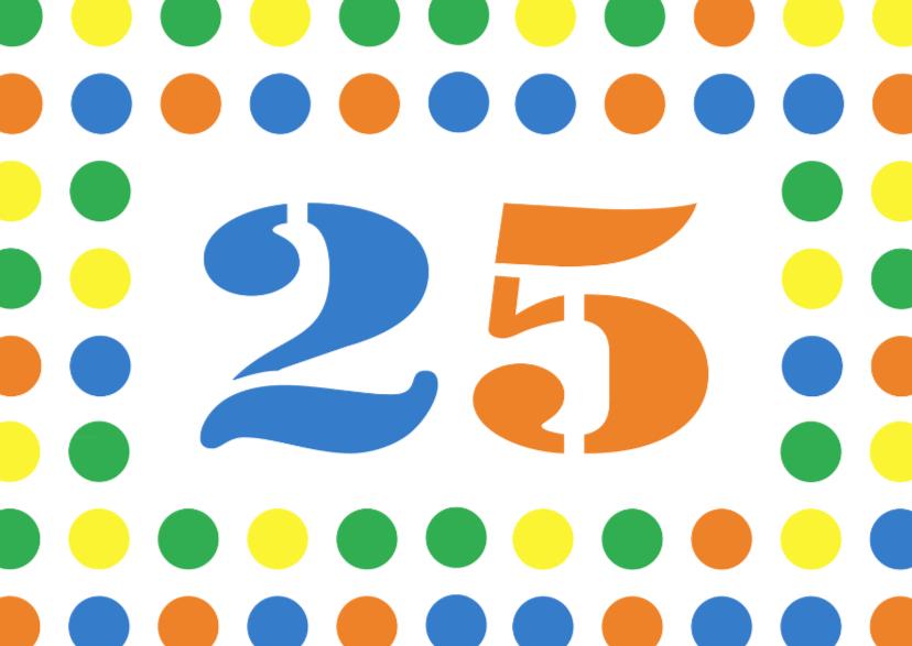 Verjaardagskaarten - party stippen 25 jaar