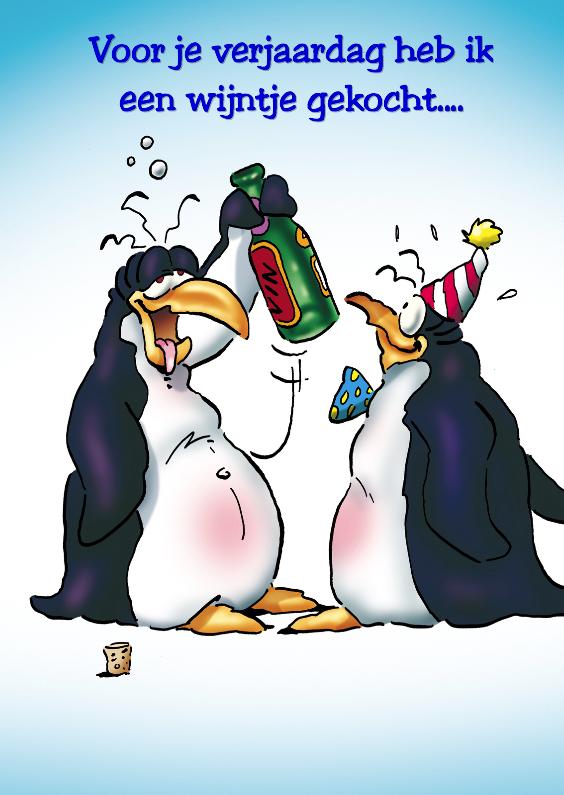 Verjaardagskaarten - penguins verjaardag 1 pinguin met wijn