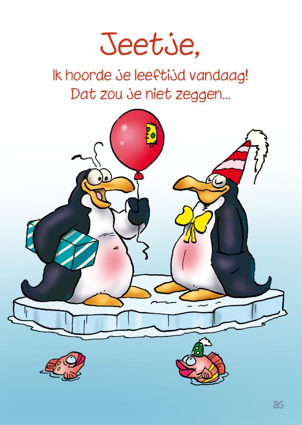 Verjaardagskaarten - Penguins verjaardag 20 Pinguin met ballon en cadeau RN.