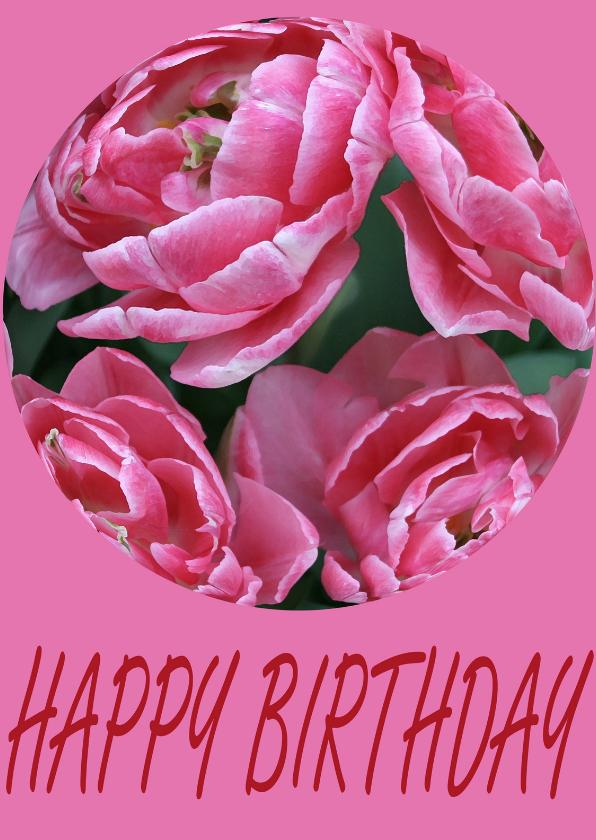 Verjaardagskaarten - pioenrozen bol happy birthday