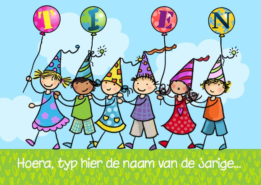 Verjaardagskaarten - Polonaise en ballonnen