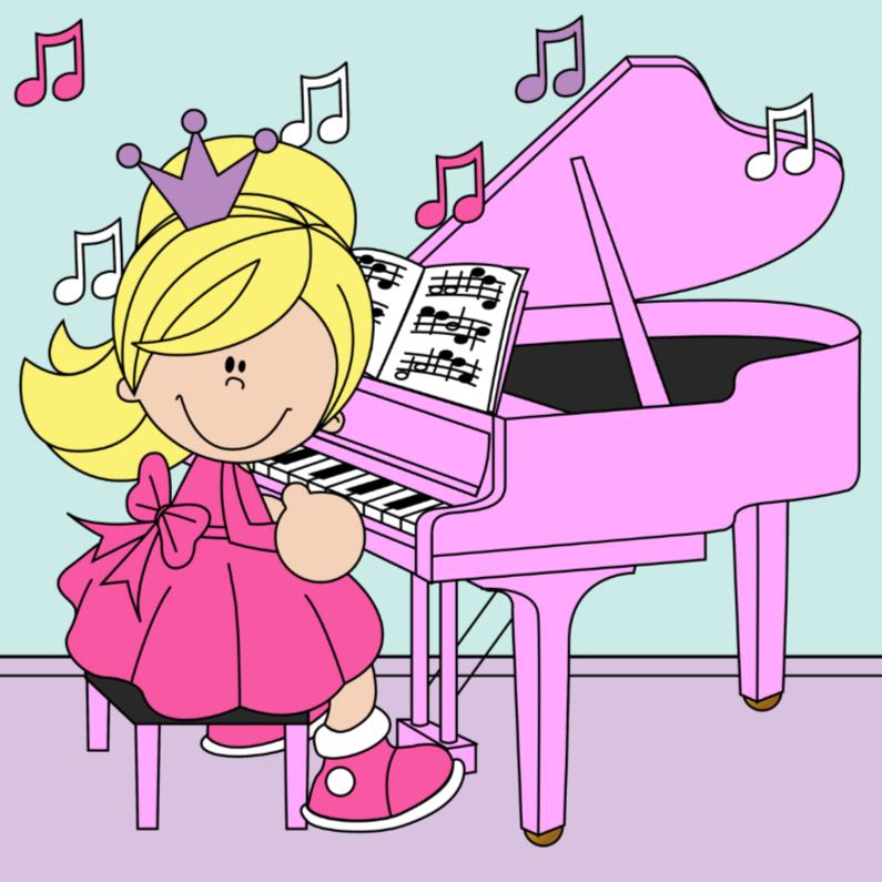 Verjaardagskaarten - Prinses achter de piano.