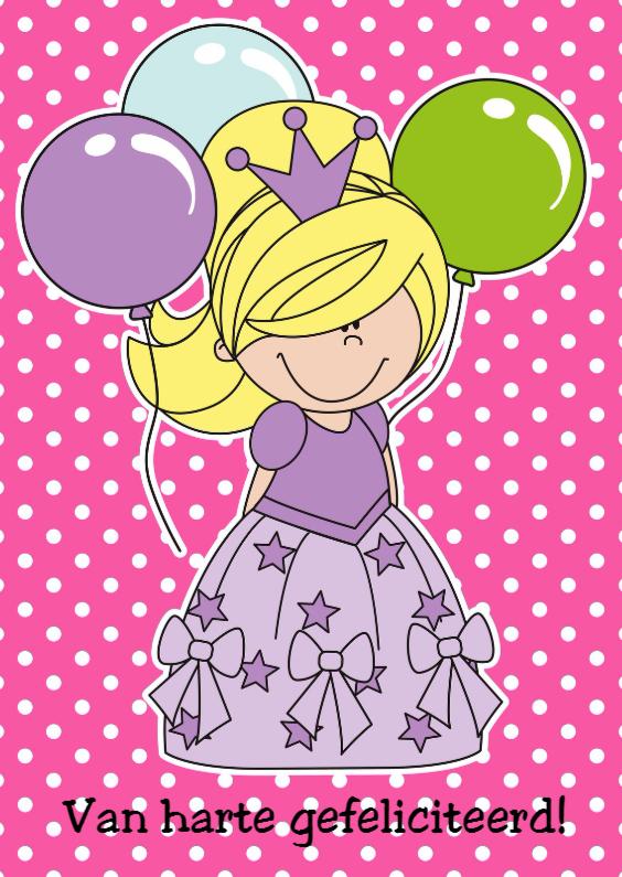Verjaardagskaarten - Prinses Alix met ballonnen
