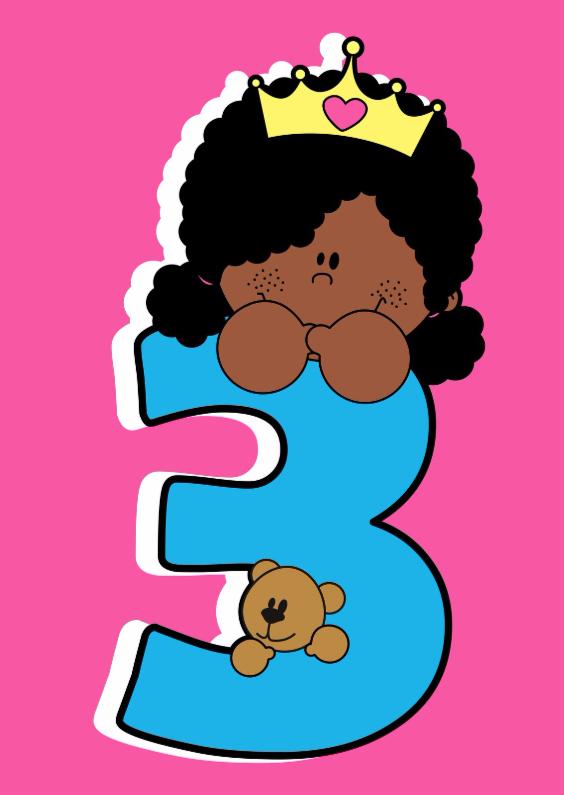 Verjaardagskaarten - Prinsesje 3 jaar met teddy beer!