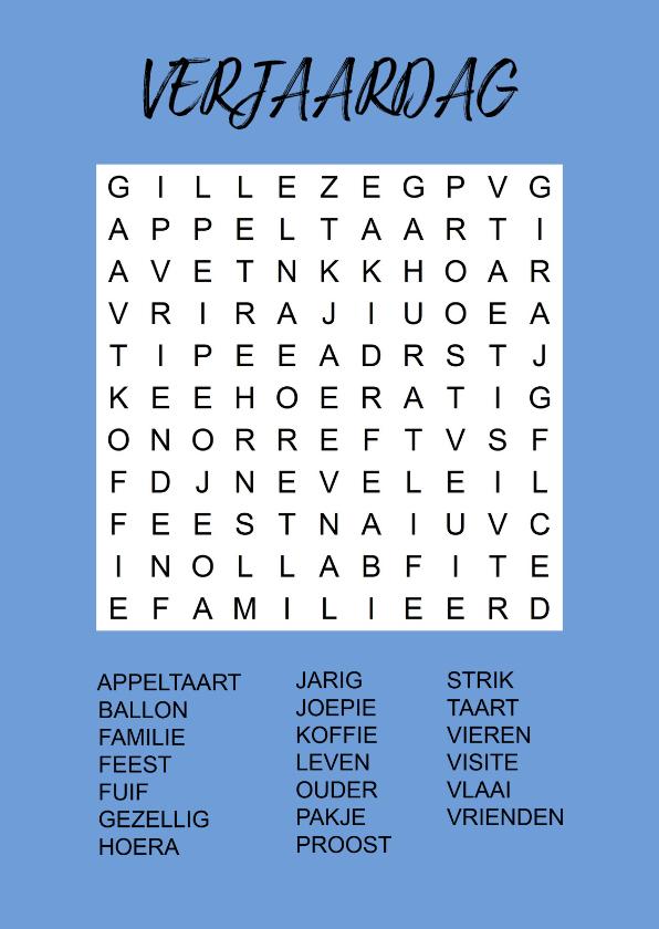 Verjaardagskaarten - Puzzelkaartje met woordzoeker Verjaardag