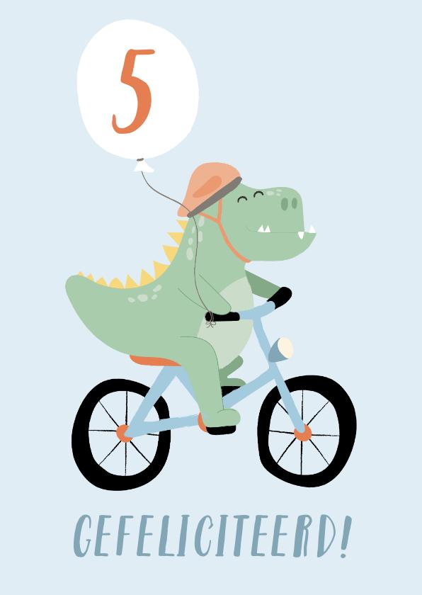 Verjaardagskaarten - Rechthoekige wenskaart met tekening van een dino op de fiets