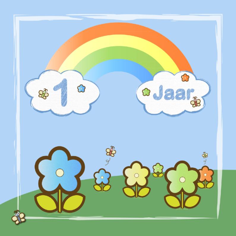 Verjaardagskaarten - regenboog bloemen jongen 1 jaar