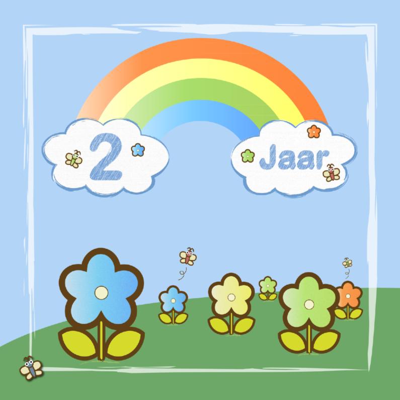 Verjaardagskaarten - regenboog bloemen jongen 2 jaar