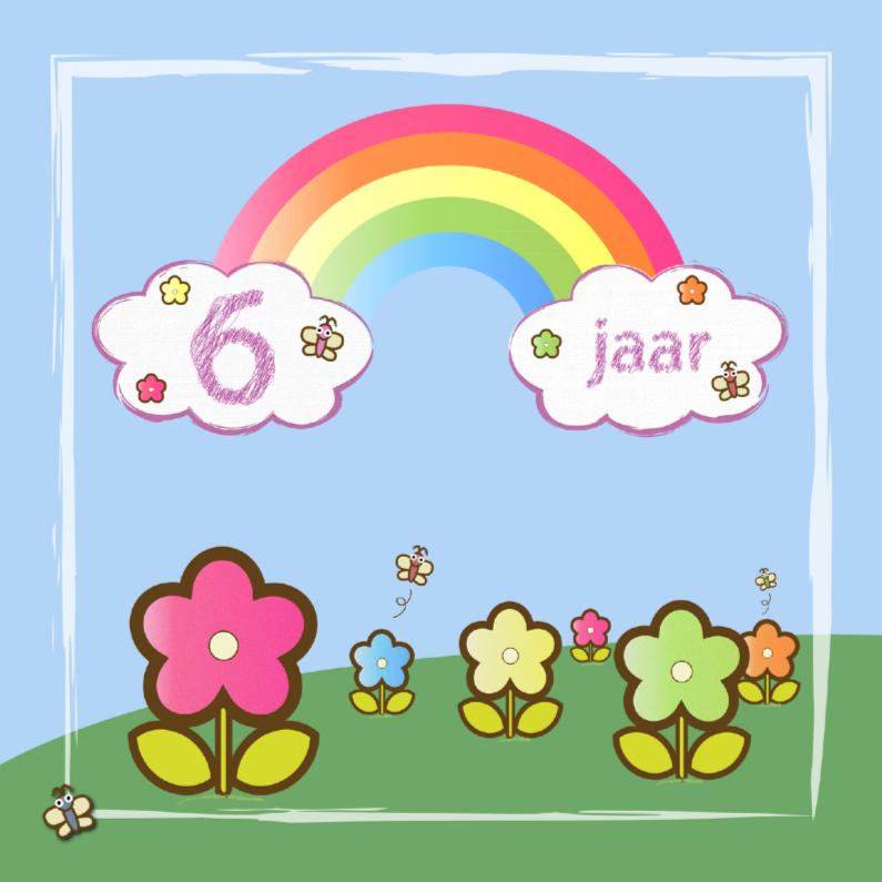 Verjaardagskaarten - regenboog vlinders en bloemen 6 jaar