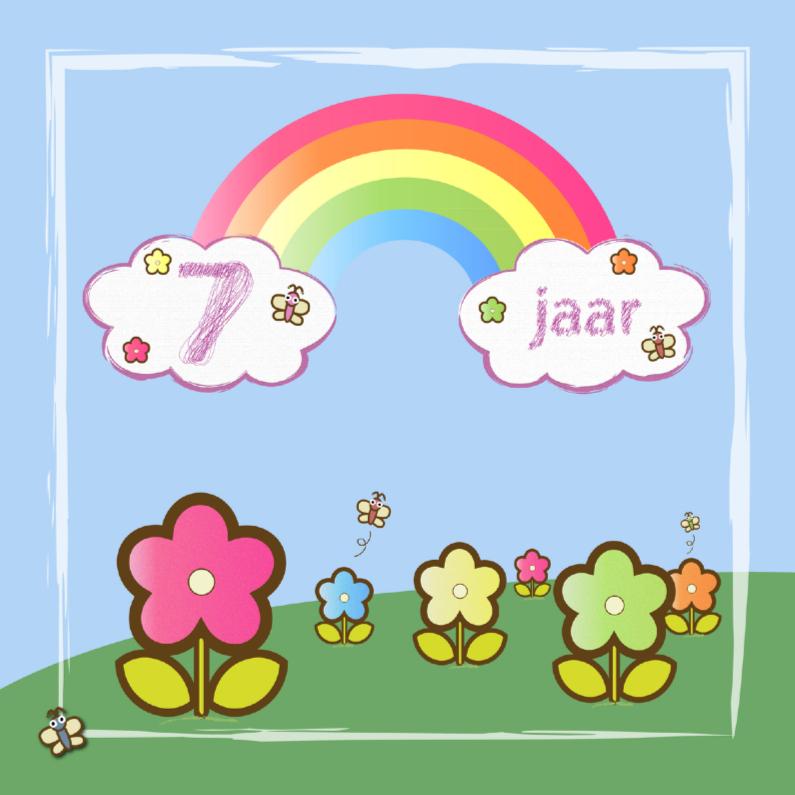 Verjaardagskaarten - regenboog vlinders en bloemen 7 jaar