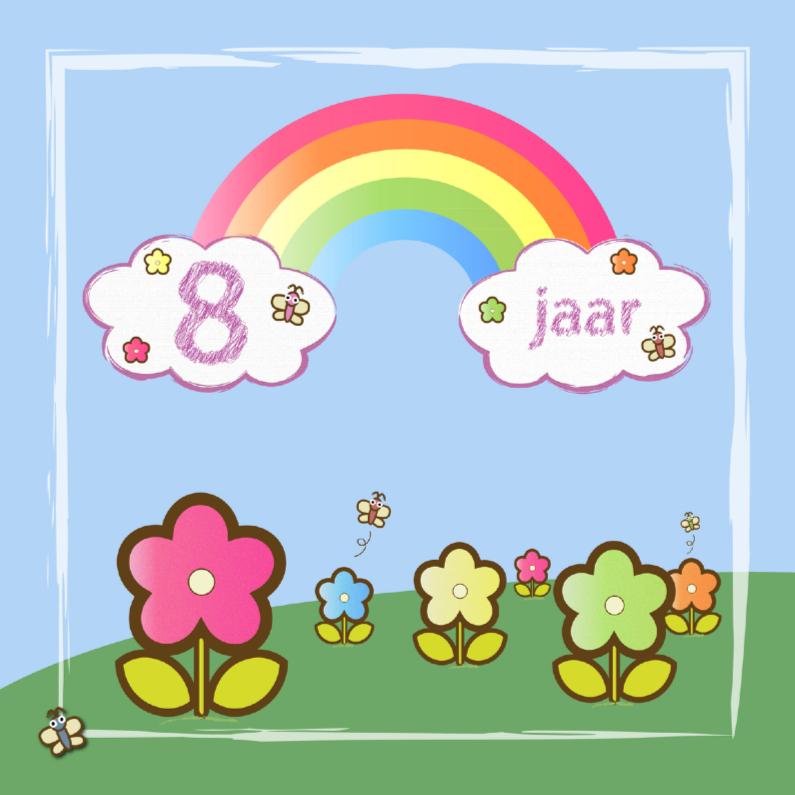 Verjaardagskaarten - regenboog vlinders en bloemen 8 jaar