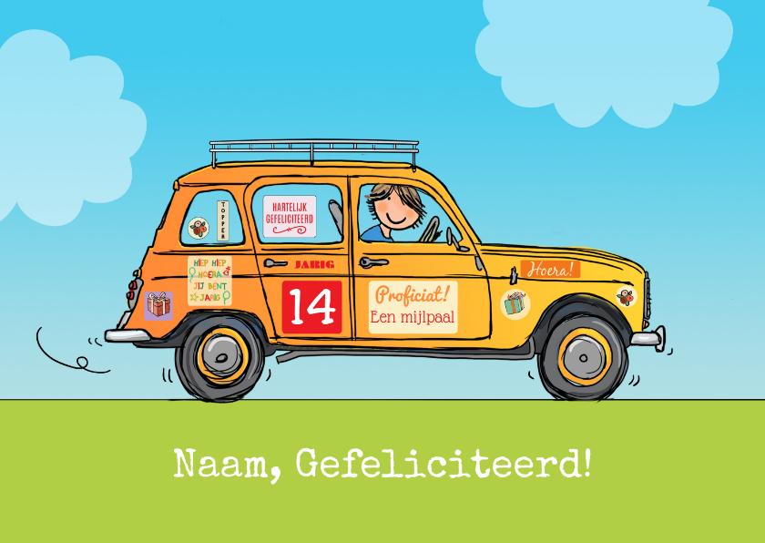 Verjaardagskaarten - Renault vier verjaardagskaart