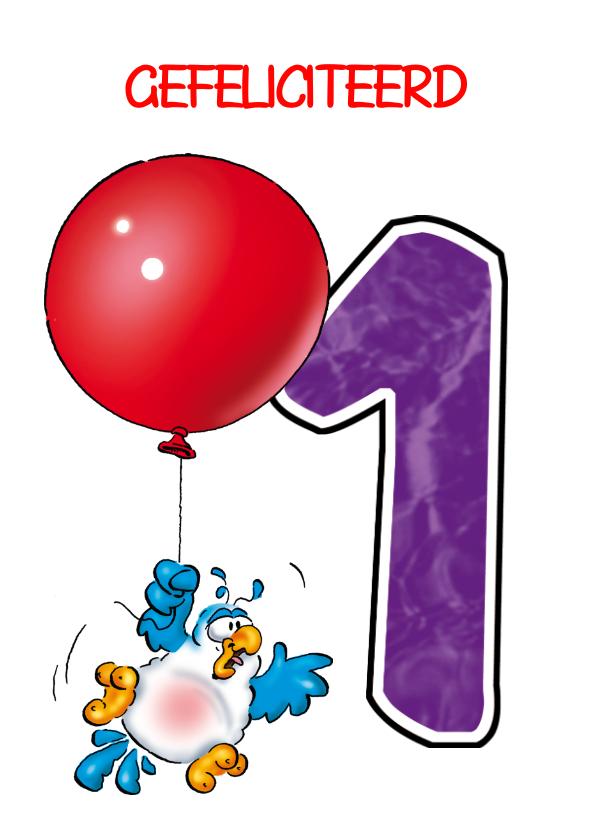Verjaardagskaarten - Rocco leeftijd 1 Baby papegaai aan ballon RN