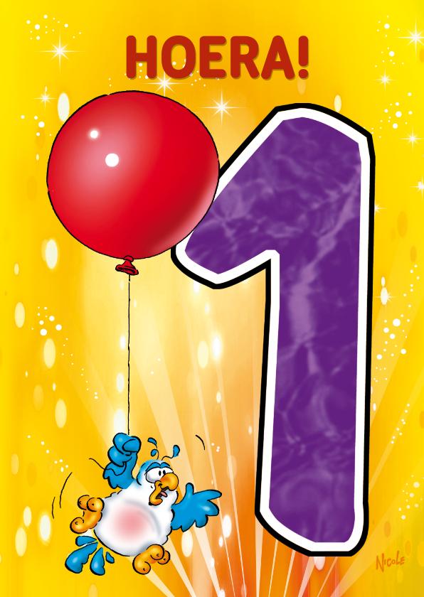 Verjaardagskaarten - Rocco leeftijd 1 papegaai aan ballon RN