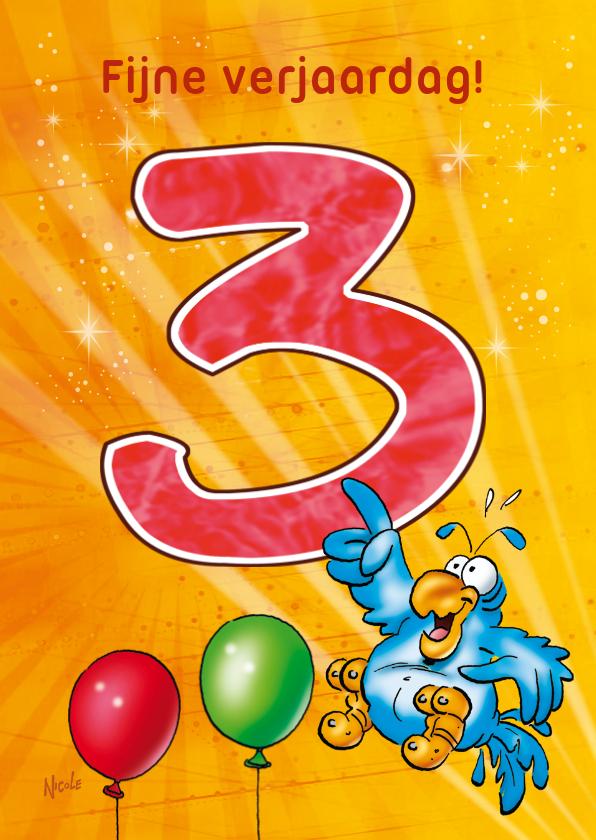 Verjaardagskaarten - Rocco leeftijd 3 papegaai met ballonnen RN.