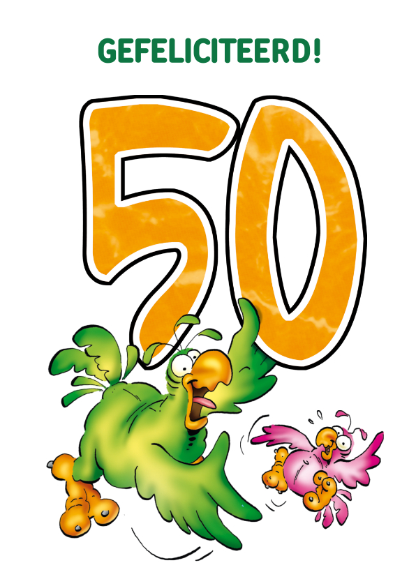 Verjaardagskaarten - Rocco leeftijd 50 Groene en roze papegaai