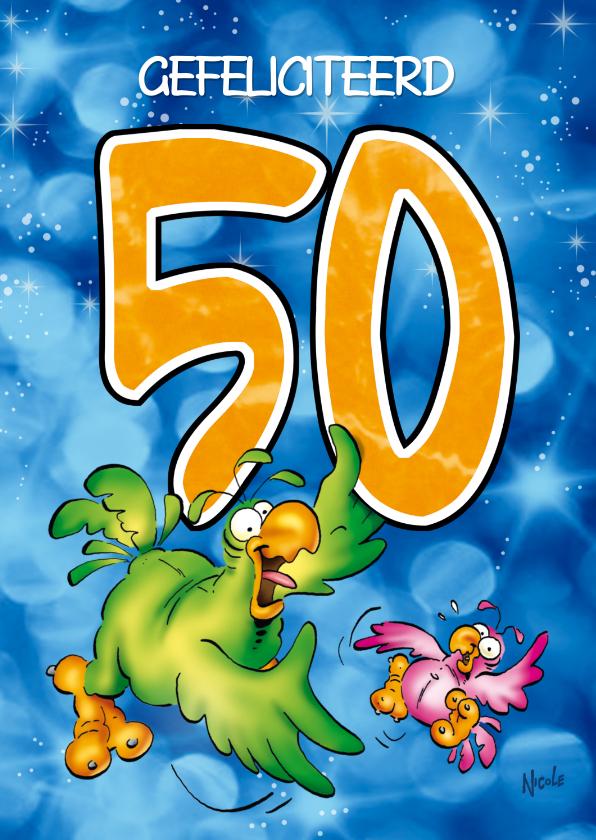Verjaardagskaarten - Rocco leeftijd 50 Papegaai houdt cijfer vast RN.