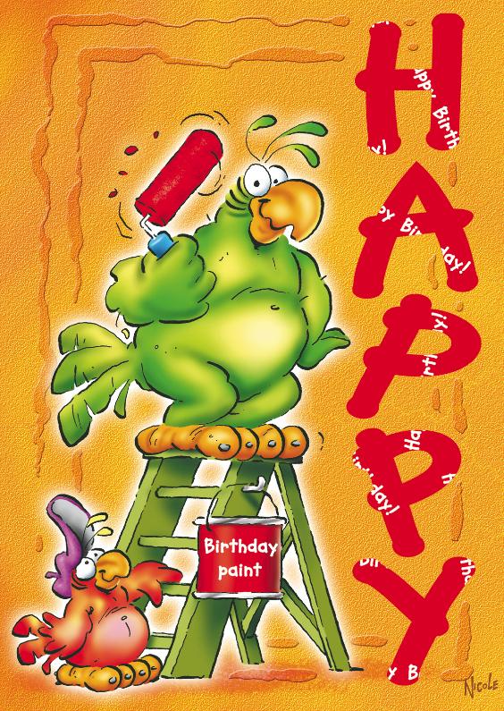 Verjaardagskaarten - rocco verjaardag 6 papegaai met verf