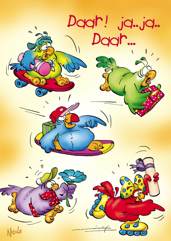 Verjaardagskaarten - Rocco verjaardag papegaai skateboard