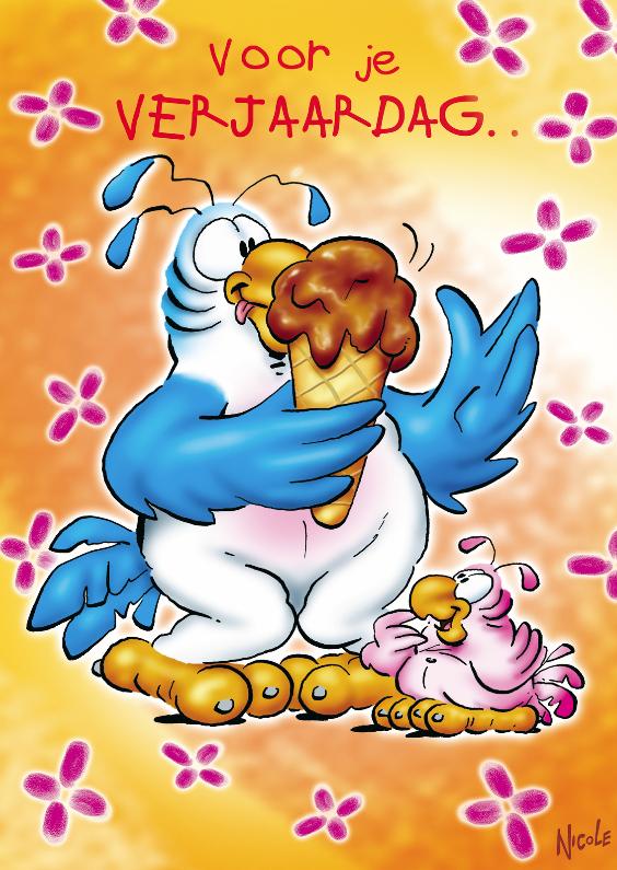 Verjaardagskaarten - rooco verjaardag 4 papegaai met ijsje