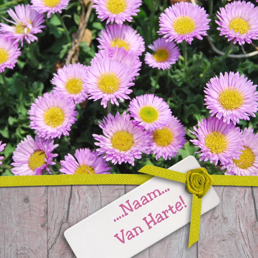 Verjaardagskaarten - Roze bloemen met hout