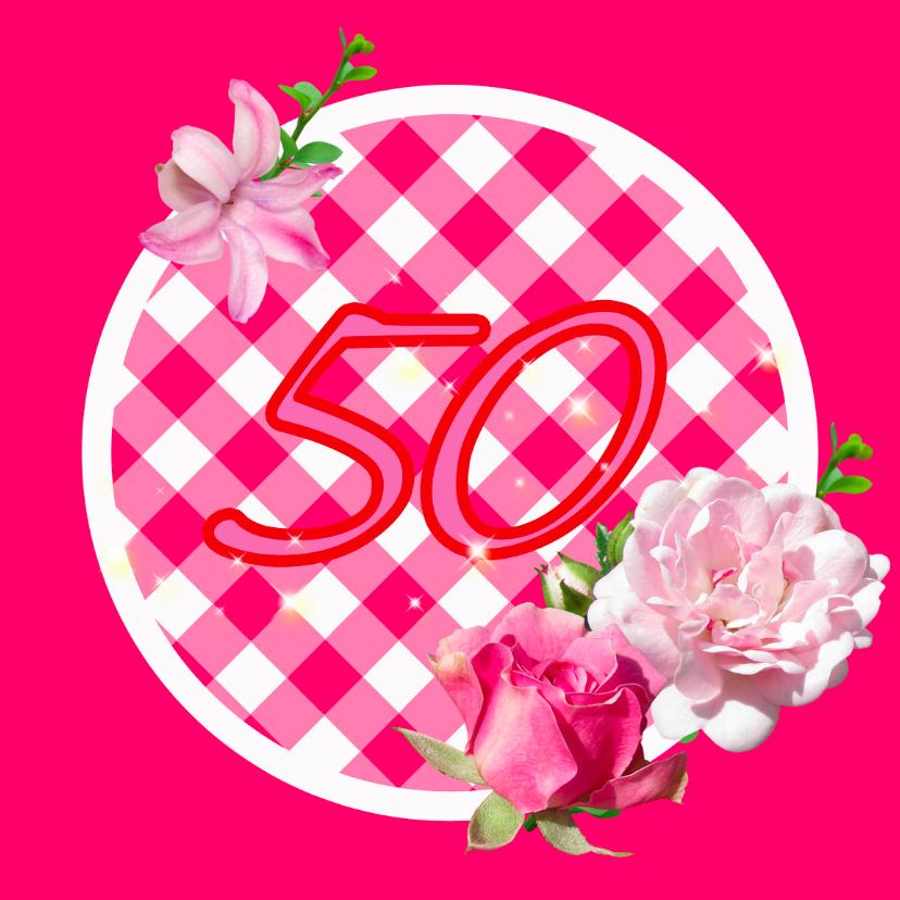 Verjaardagskaarten - Roze kaart met rozen 50 jaar