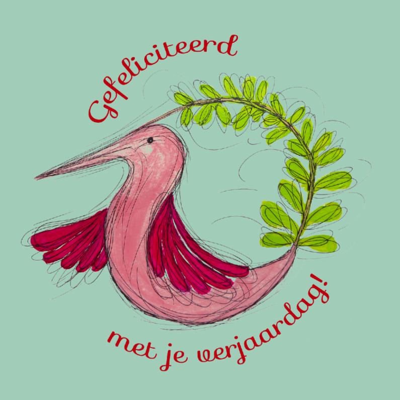 Verjaardagskaarten - Roze kolibrie verjaardag
