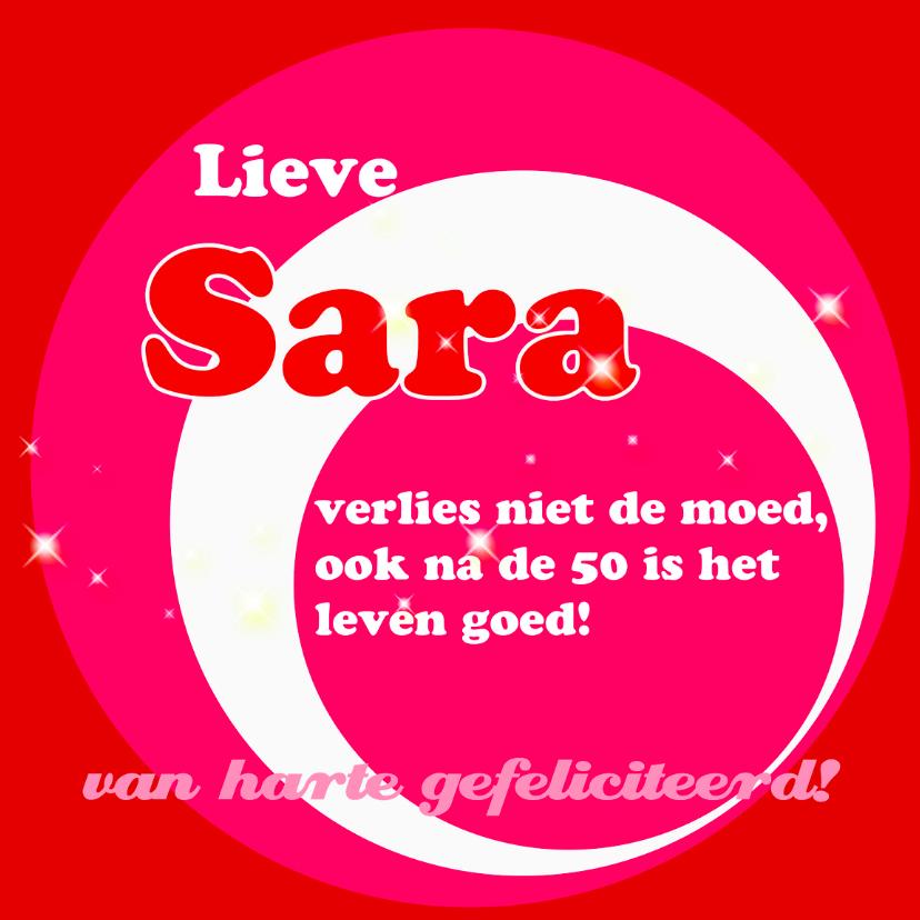 Verjaardagskaarten - Roze met rode kaart Sara 50 jaar