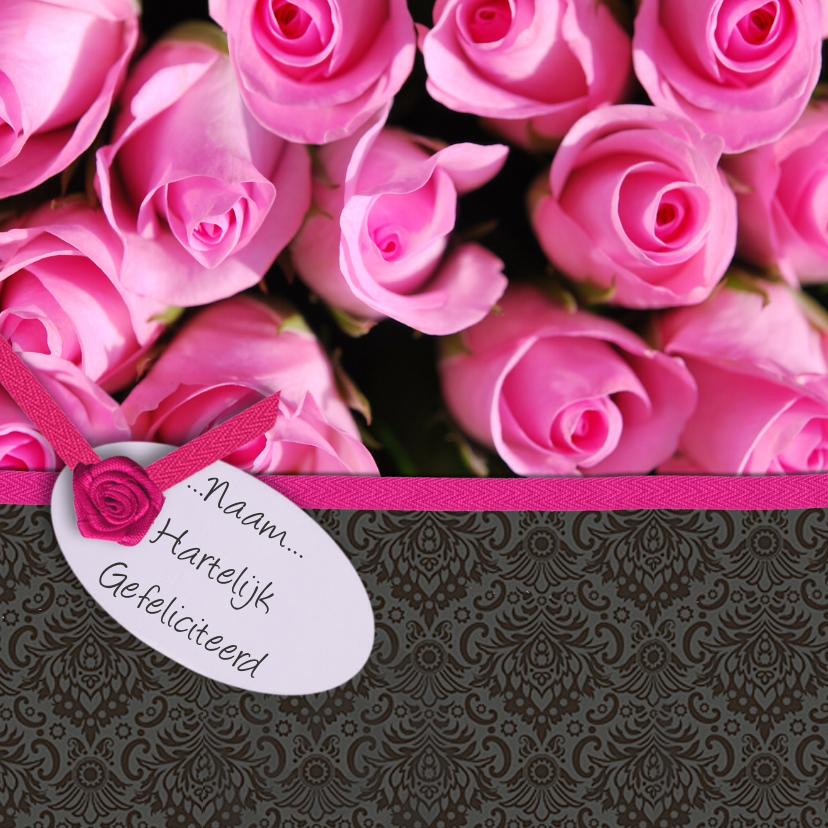 Verjaardagskaarten - Roze rozen en behang zwart