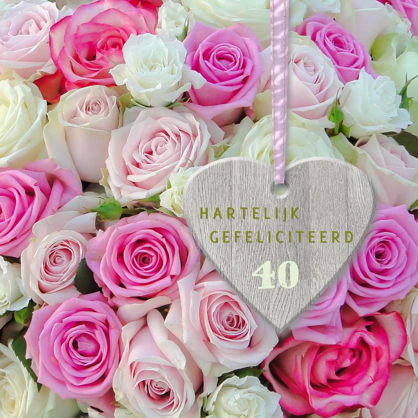 Verjaardagskaarten - Roze rozen met hart