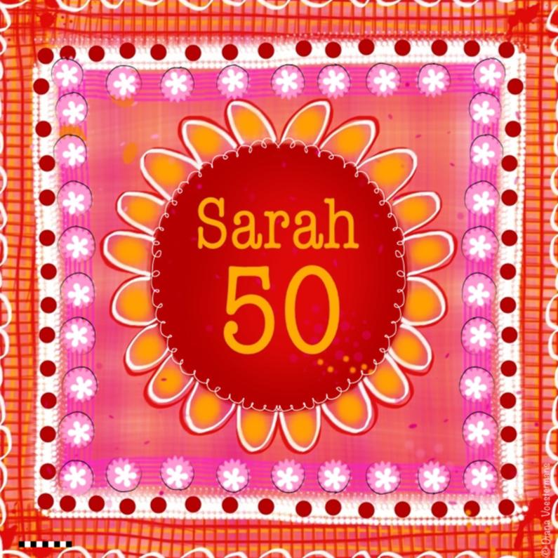Verjaardagskaarten - Sarah 50 kleurrijk bloem