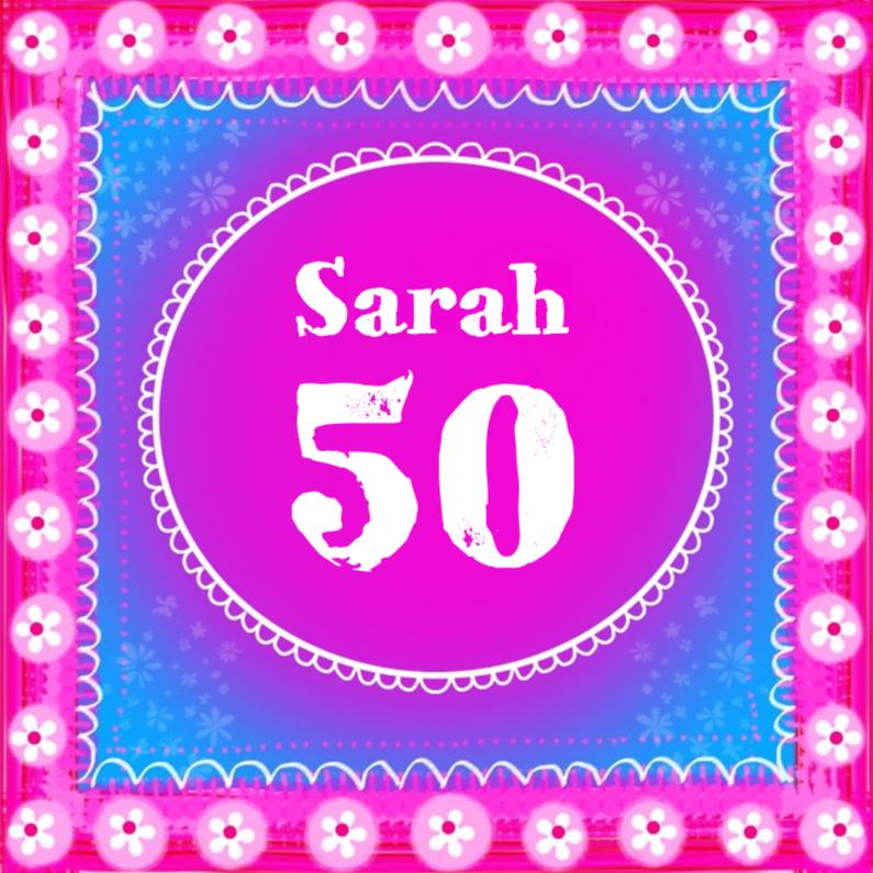 Verjaardagskaarten - Sarah 50 pink en blue